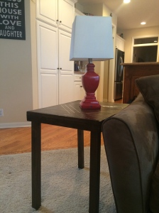 End Table with Red Lamp