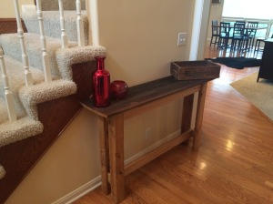 A rustic table for my foyer