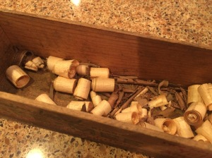 Wood shavings for bottle filler