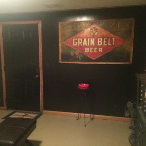 The black wall remained-- it was meant to hold the Grain Belt Beer sign