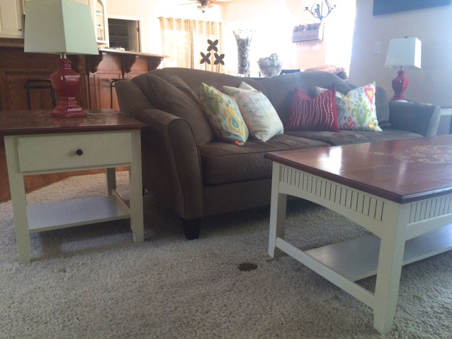 Custom stenciled top end and coffee table