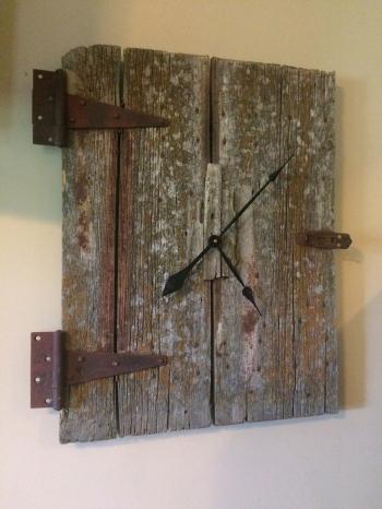 Minimalist style barn wood clock