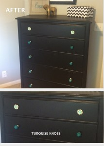 Dresser after with accent knobs on top drawer