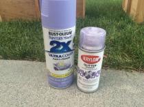 Purple spray paint and purple glitter spray paint applie