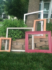 Frames painted with the wire attached