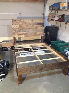 Pallet bed ready for a home