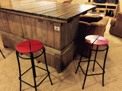"New bar and ""new"" barstools.  A winning combination."