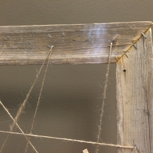 Staple the twine to create a zig-zag pattern