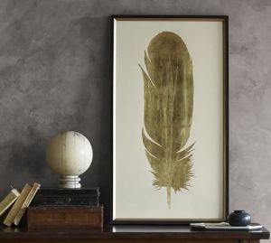 Pottery Barn Gold Feather Art